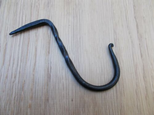 RUSTIC BLACKSMITH HAND FORGED TRADITIONAL TWISTED HOOK NAIL IN BEAM HOOK
