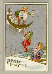 Postcard-PC-Happy-New-Years-Father-Time-Elves-Counting-Time-On-Moon-1900s
