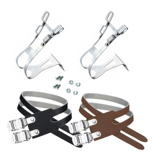 Wellgo MT-21 double toe cage clips with W-6 double leather straps for pedal