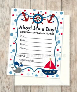 Details About Nautical Sailboat Baby Whale Fill In Blank Shower Invitations Set Of 20