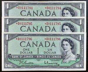 1954-Bank-Of-Canada-1-Set-of-3-Consecutives-Replacement-B-M-Prefix-BC-37bA-i