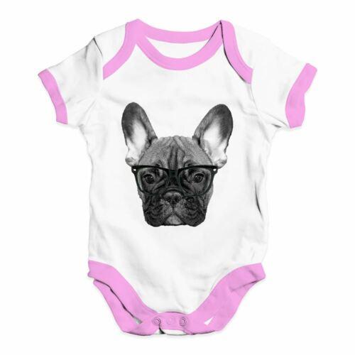 Twisted Envy Hipster French Bulldog Nerdy Baby Unisex Funny Baby Grow Bodysuit