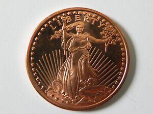 2011 - 2 - 1 AVDP oz. 999 Fine Copper Rounds - St. Gaudens Design - BU