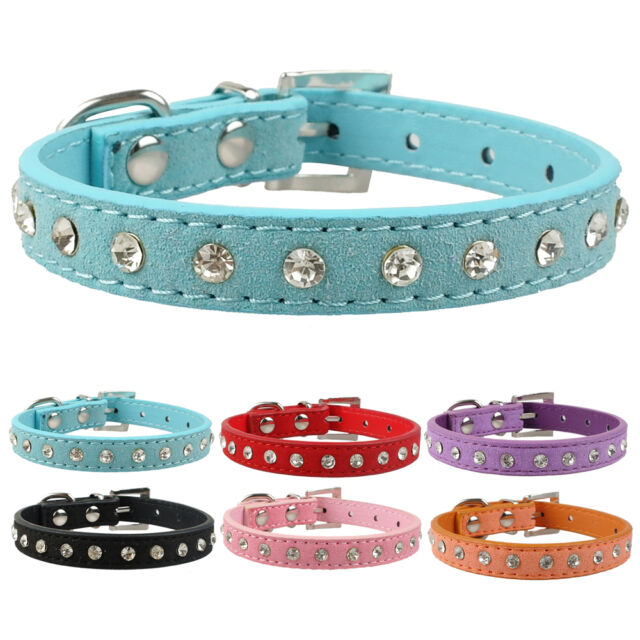 Bling Rhinestone Suede Leather Dog Puppy Collars for Small Dogs Poodle Yorkie