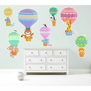 HOT AIR BALLOONS ZOO ANIMALS Colourful Wall Art Sticker Kit decal cute nursery