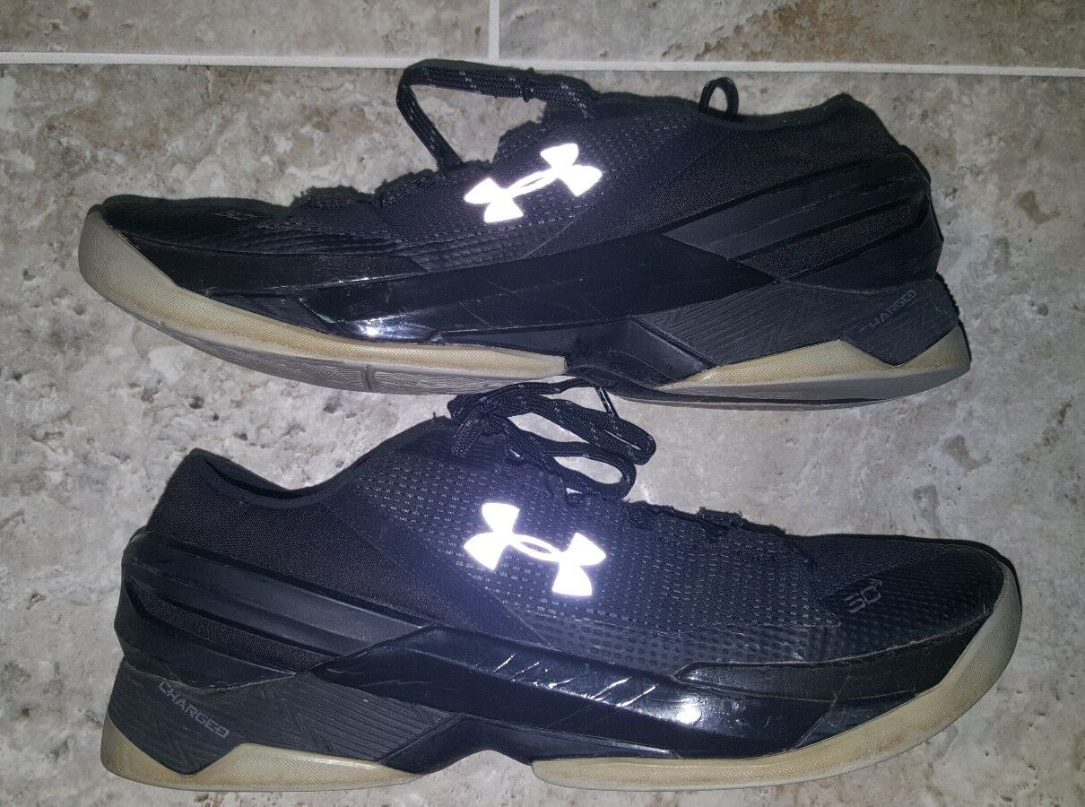Buy Under Armour UA Curry 2 Low Basketball Shoes Size 8 Black Grey ... 3f7b82557b04