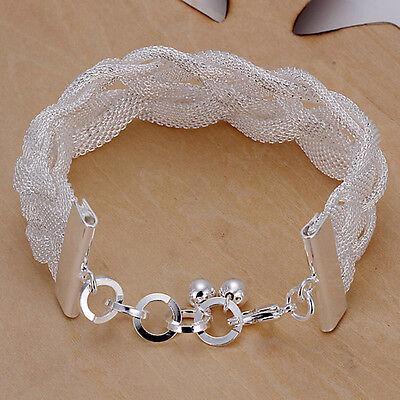 Damenarmband Milanaise Spange Flecht 20cm Armband pl. mit Sterlingsilber