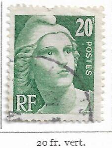 Timbre France Marianne de Gandon 1945-47 Gravé -N° 728 - 20 fr vert