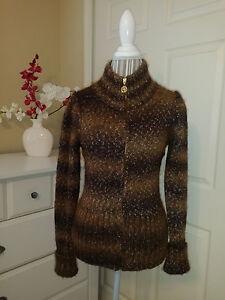 Studio Vittadini Forest Adrienne Wool Sz l Multi Cardigan Fuld Zip Blend Sweater OBxx5w7qR