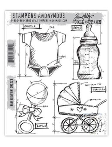 """Stempel Set /""""Baby Blueprint/"""" Tim Holtz STAMPERS ANONYMUS Geburt Taufe Clingstamp"""