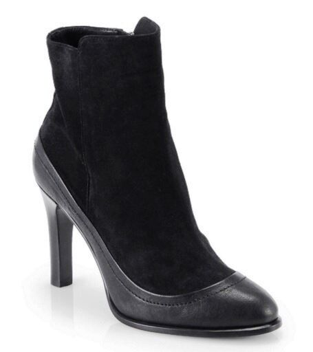 RAG & BONE Albion Black Asphalt Suede Leather Ankle Heel Booties Boots 7.5  595