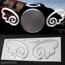 3D Engel-Flügel Set Aufkleber Silber Rund LKW Auto Stoßstange Emblem Abziehbild