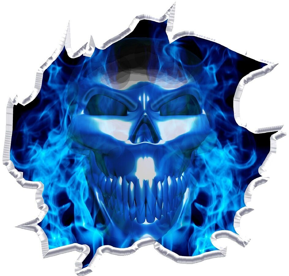 Flaming skull ripped cornhole board game decals