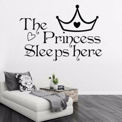 The Princess Sleeps Here Quote Wall Sticker Vinyl Decals Kid Girl Bedroom Decor