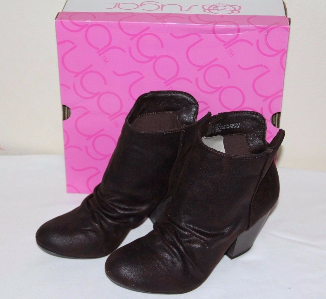 NEW Sugar Tula shoes Cowboy Dark Brown Women's Ankle Boots Bootie Size  8.5