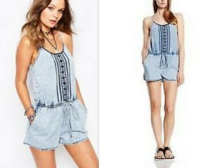 New-Look-Embroidered-Stone-Wash-Playsuit-Size-16-BNWT
