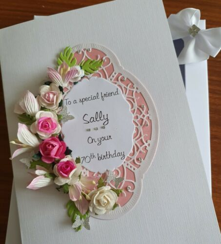 Handmade Personalised Birthday//Wedding//Anniversary Card Roses /& Lilies-Gift Box