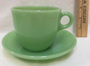 Cup & Saucer Jadeite Fire King Green Glass St Dennis Pair USA Vintage Restaurant