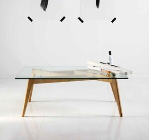 Moderner Couchtisch Wohnzimmer Tisch Glasplatte + Eiche Massiv ...