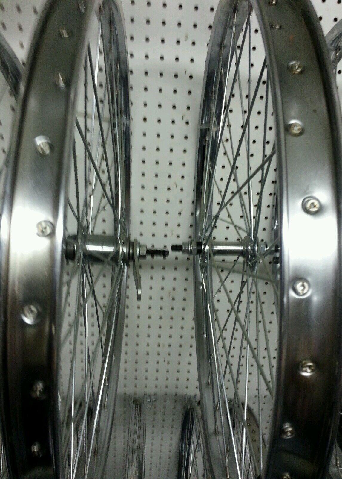 PAIR OF 24X2.125 BICYCLE STEEL WHEELS HEAVY DUTY COASTER BRAKE REAR 36 SP, 12 GA