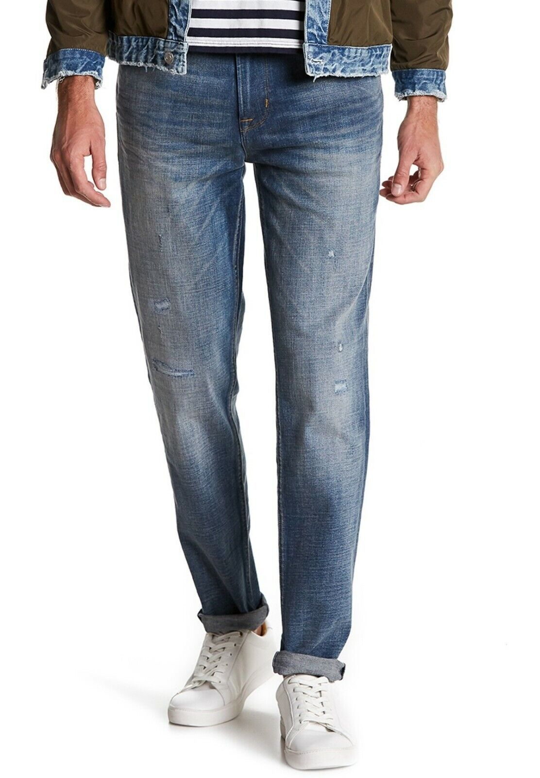 Hudson Jeans Men's Sartor Relaxed Skinny Leg Jeans Distressed Denim Laughlin