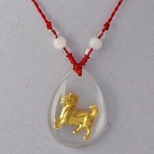 24K Yellow Gold Filed Cute Dog MURANO GLASS Pendant Rope Chain Beads Necklace