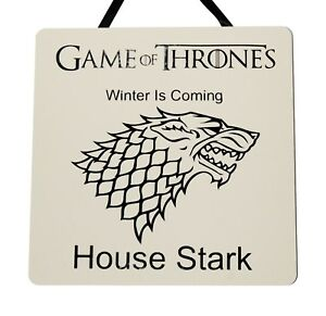 Details About Game Of Thrones House Stark Winter Is Coming Handmade Wooden Plaque