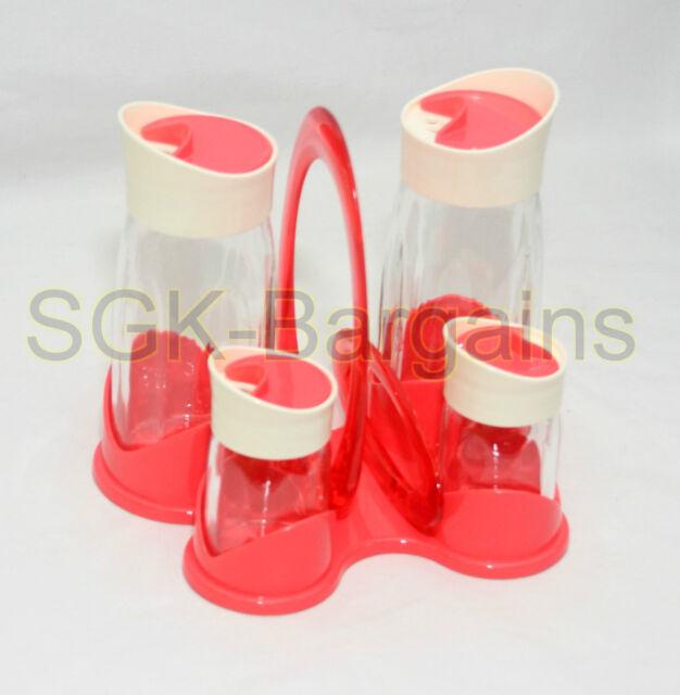 4PC MODERN SALT & PEPPER SHAKER & SPICE JAR SET GLASS POT CRUET CONDIMENT PINK