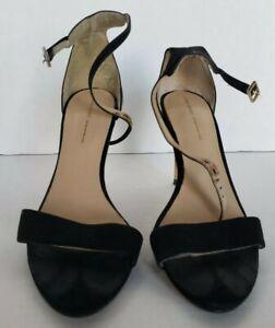 zara basics women's high heel strappy sandal shoes black