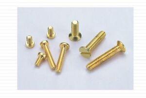 10-Miniatur-Senkschrauben-Messing-M-1-4