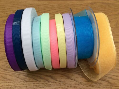 ribbons 10 mtrs assorted colours widths sewing crafts