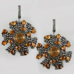 18-3Ct-Citrine-Floral-Shape-Dangle-Earrings-Solid-925-sterling-Silver-Diamond