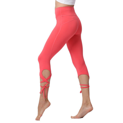 Fitness High Waist Push Up Solid Cross Bandage Stretch Ballet Dance Crop Legging