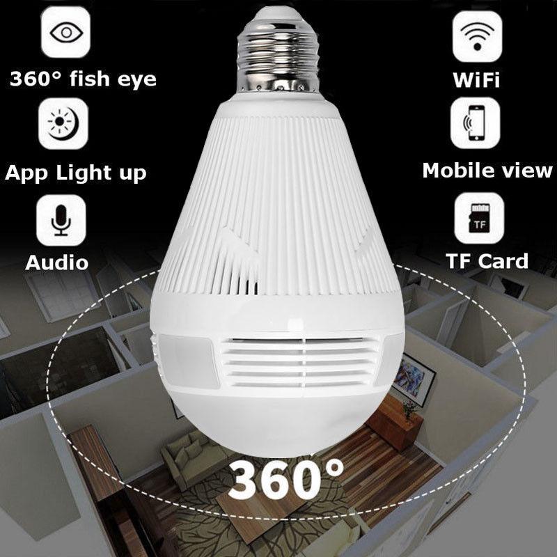 1080P Mini Security IP Camera 360° Panoramic SPY Hidden Wifi Wireless Light Bulb 4