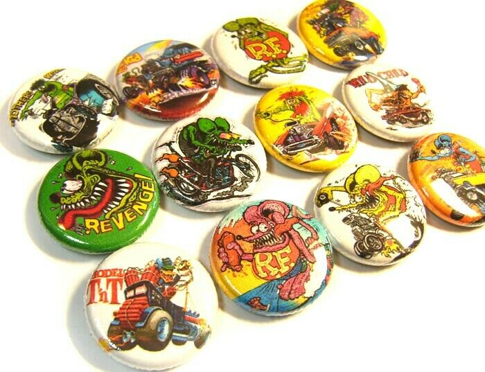 """12 RAT FINK Ed Big Daddy Roth Weird-Ohs ONE Inch Buttons 1/"""" Badges Hot Rod Set#1"""