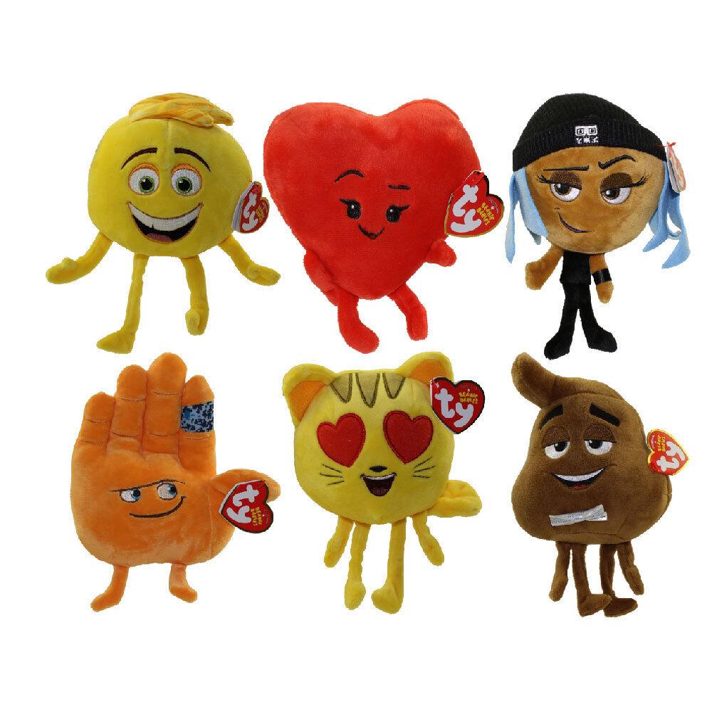 Set of 6 TY Beanie Babies The Emoji Movie Poop Gene Cat Heart Eye Hi 5 Jailbreak