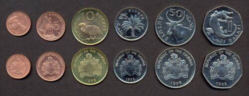 1 Dalasi 1998-2014 UNC LOT of 6 GAMBIA COMPLETE COIN SET 1+5+10+25+50 Bututs