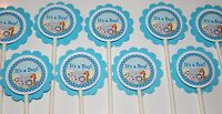 30 Safari Noah Animals It's A Boy Cupcake Toppers, Baby Shower Favor 30