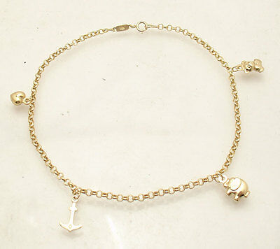 products palmbeach jewelry heart anklet ankle bracelet yellow gold detail cfm at link