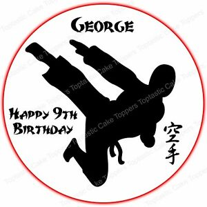 Personalised Martial Arts Karate Girl Edible Icing Birthday Party Cake Topper