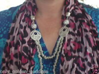 White Austrian Crystal Blank & Pink Animal Print Scarf 60in & Necklace 36in J310