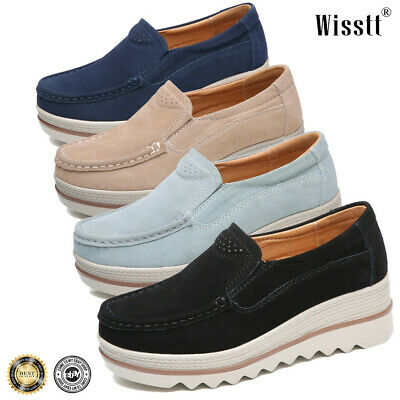 Womens ladies slip on moccasins leather open back loafers comfort boat shoe size
