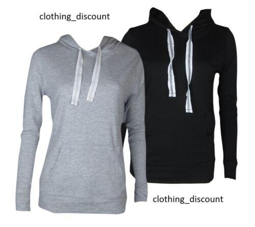 ladies hoodie pullover gym top plain black gray size 8 10 12 14 16 18 20 22 24