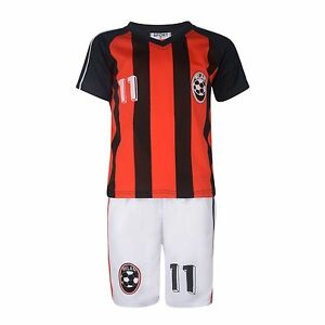 Kit de football garçons court set Milan Rouge / Noir 2-10years #milan Bnwt 							 							</span>