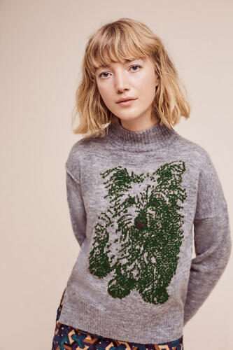 XSP NEW Anthropologie Turtleneck Puppy Pullover by Moth S PM XS