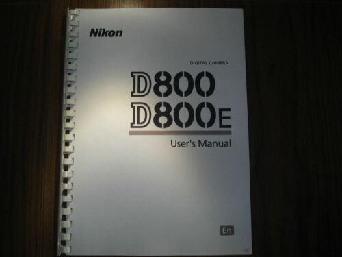 ~ ~ Impreso Guía Del Usuario De Nikon D800 D800e manual de instrucciones