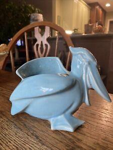 Vintage Nelson McCoy Aqua Blue Pelican Bird Pottery Ceramic Planter - Signed