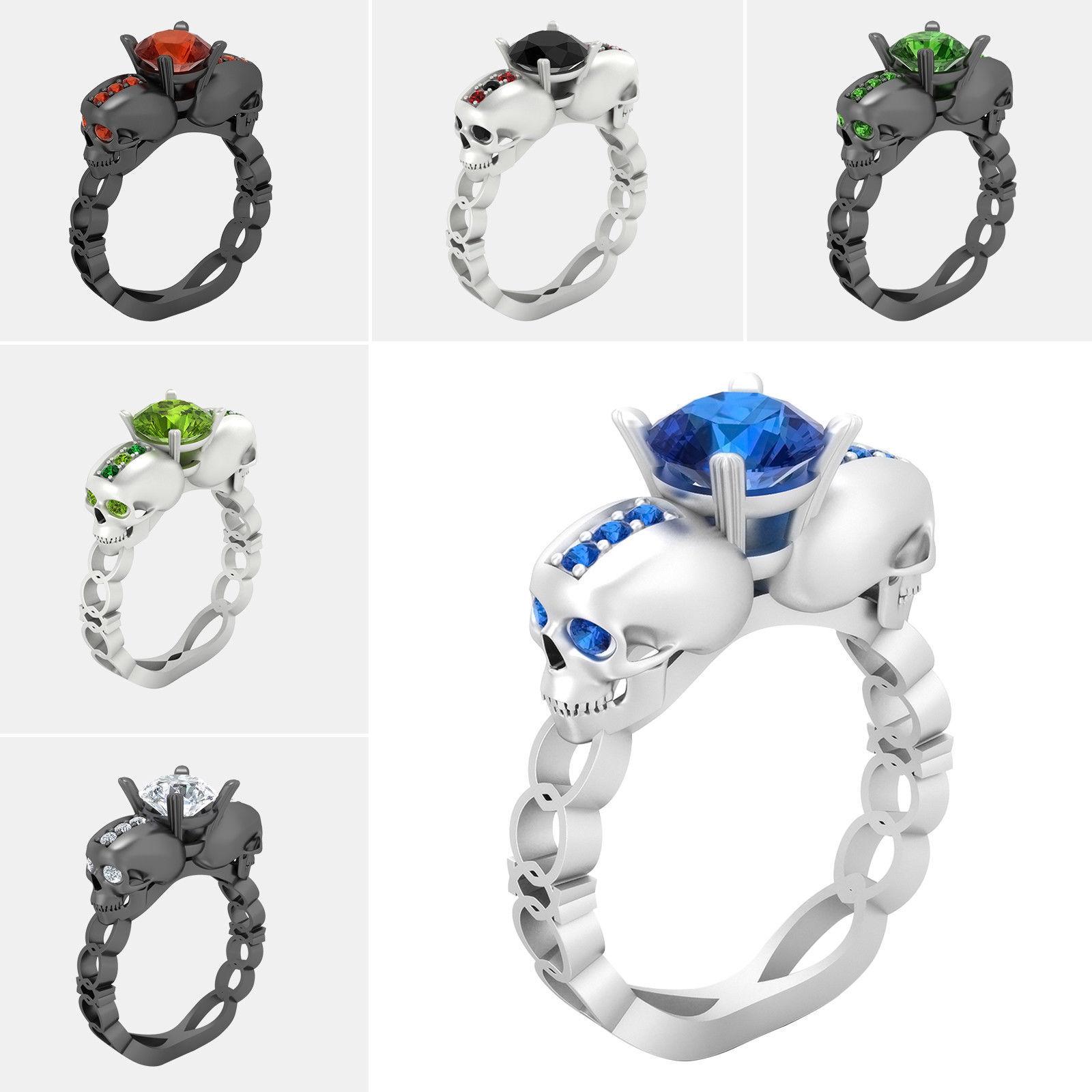 Biker Skull Rings Men Women 1.50 Ct Solitaire Diamond Ring Halloween Dark Souls