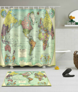 72x72 the world map fabric bathroom waterproof shower curtain image is loading 72x72 039 039 the world map fabric bathroom gumiabroncs Gallery