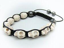 Shamballa macrame TURQUOISE WHITE CREAM SKULL BEAD, HEMATITE  Bracelet